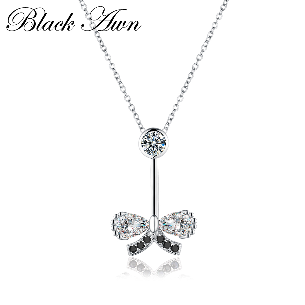 Cute 3g Genuine 100% 925 Sterling Silver Necklace Trendy Butterfly Black&White Necklace Women Bijoux Femme P005Cute 3g Genuine 100% 925 Sterling Silver Necklace Trendy Butterfly Black&White Necklace Women Bijoux Femme P005