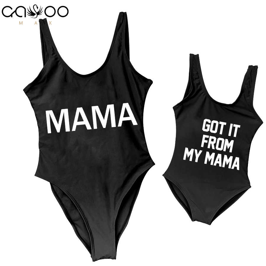 49f69789eb847 ... I GOT IT FROM MY MAMA Mom Baby Swimwear 2018 One Piece Swimsuit  Backless Bather Thong ...