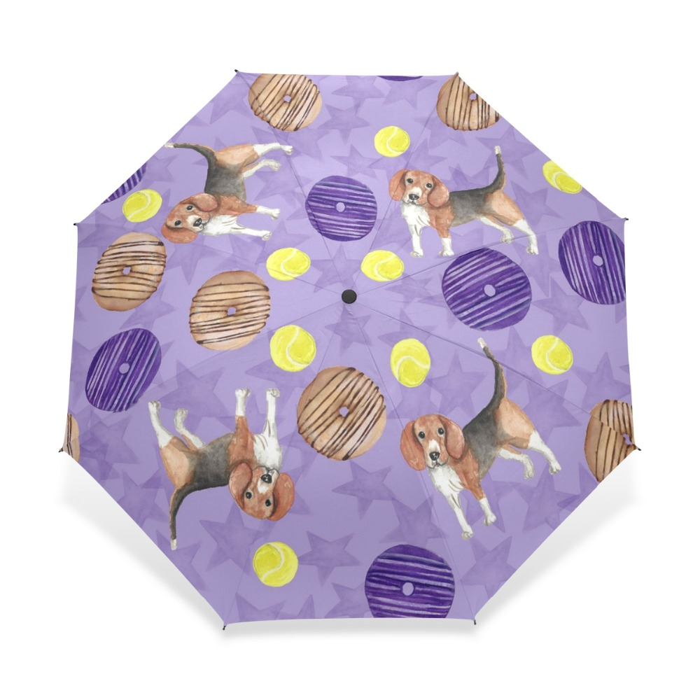 Personal Design Sausage Dog Viole Pattern Umbrella Child Rain Dog with Donuts Umbrella 3 Folding Automatic Baby Gift Rain Gear