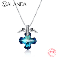 MALANDA Fashion Sterling Silver Blue Crystal From Swarovski Angel Wings Pendants Necklaces For Women Statement Necklaces Jewelry
