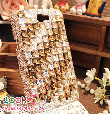 luxury  bling Square gems crystal rhinestones protective case for Samsung Galaxy Note 2 N7100 or N7000 or 3  [JCZL DIY Shop]