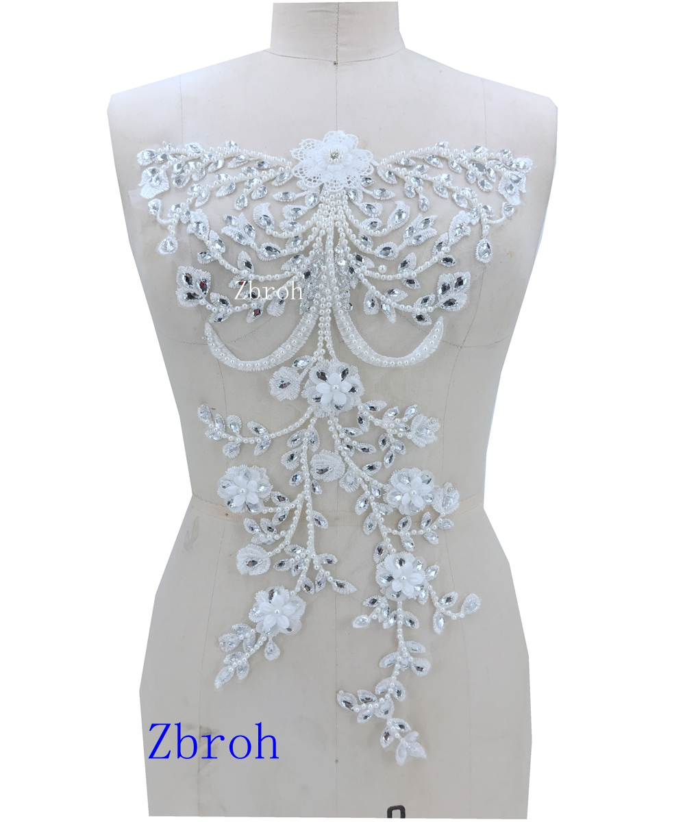 handmade white Hot drilling Rhinestone pearl lace embroidery patch applique wedding dress bordados DIY Performance clothing