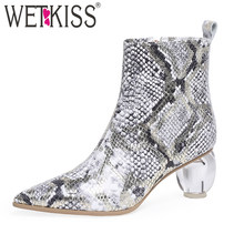 WETKISS Colorful Snake Skin Ankle Boots Women Crystal Heels High Booties Shoes Female Sexy Sheepskin Shoes Ladies Party Shoes(China)