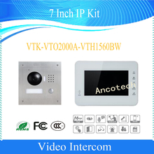 Free Shipping DAHUA Video Intercom 7 Inch IP Kit Support Mobile APP HD CMOS camera Without Logo VTK-VTO2000A-VTH1560BW