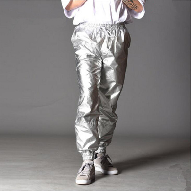 Bright Silver Pants Men Cool Hip Hop Casual Jogger High Quality Sweatpants Elastic Waist Ankle Trousers A5527