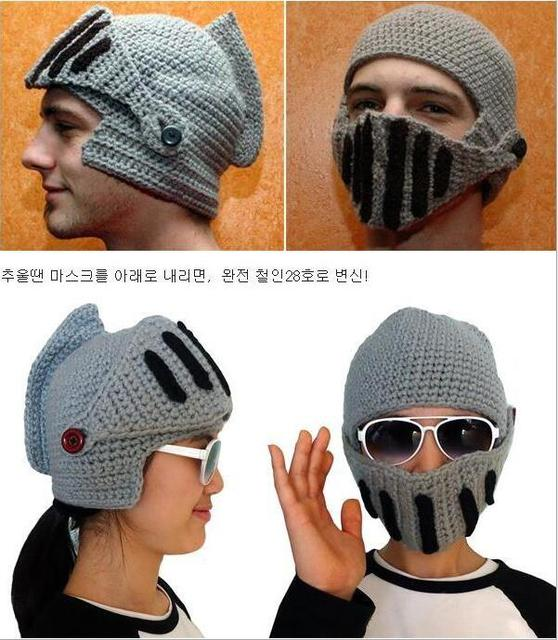 Novelty Roman Knight Helmet Caps Handmade Knit Warm Winter Spartan Mask Hats  Cute Unisex Beanies Funny Knitting Windproof Cap 4dd232696ff
