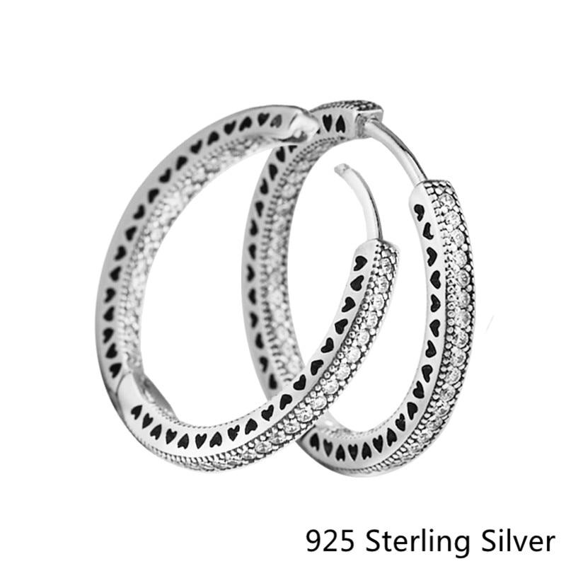 цена CKK 925 Sterling Silver Hearts Sparkle Hoop Earrings For Women Original Fashion Jewelry Anniversary Gift