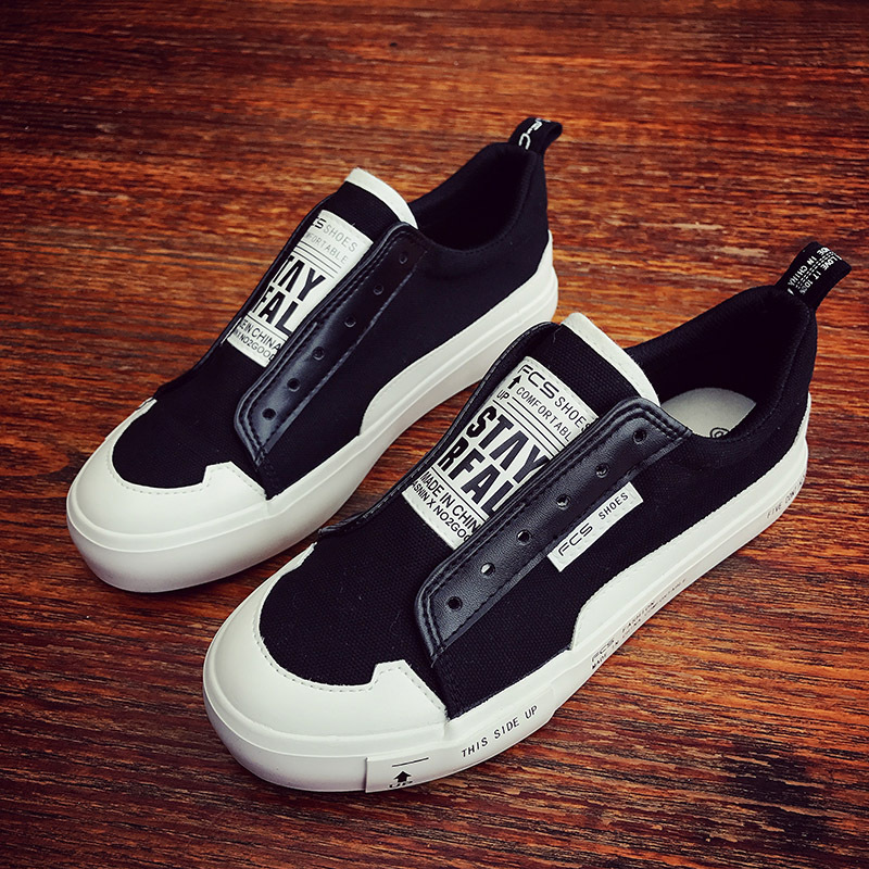 Men Shoes Vulcanized Casual Shoes Flat Hee Slip on Loafers 2018 Fashion Street Style Mixed Colors Black White Canvas Shoes 39-44 стоимость