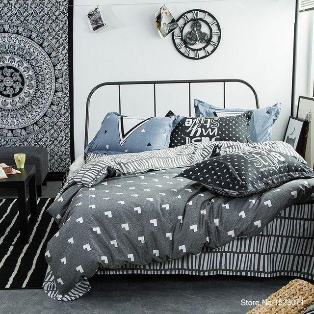 Gray Geometric Striped Children Cartoon Mens Bedding Set Bedspread Pillow  Bed Sheet Linen Duvet Cover Bedspread