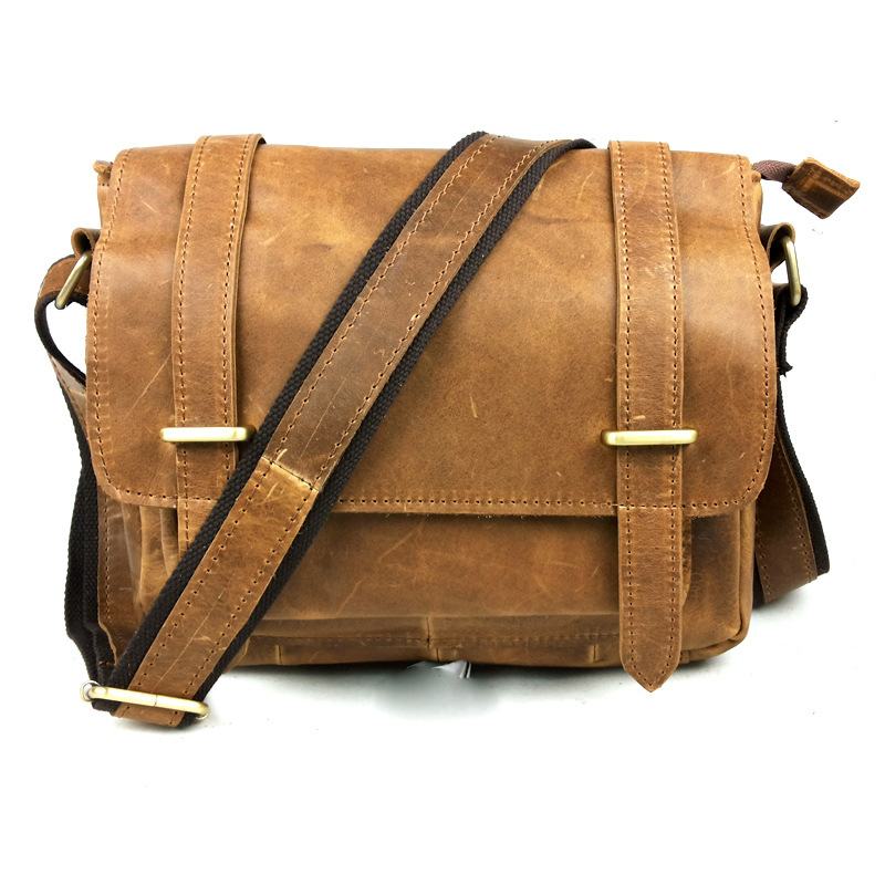 low price on sale Classic Retro Crazy Horse Genuine Leather Cowhide Men Crossbody Shoulder Bags Satchel Messenger Travel Bags