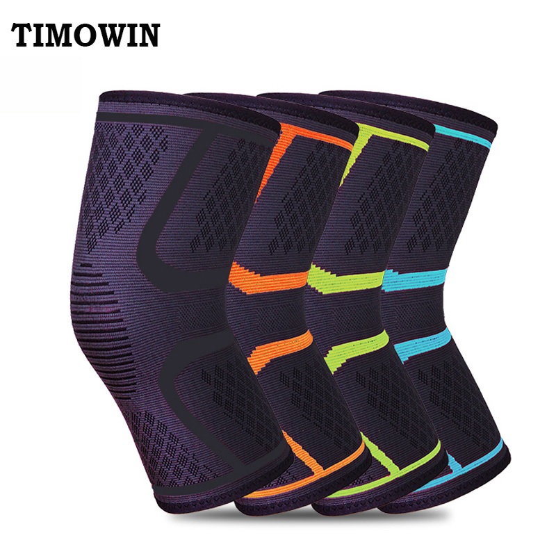 1 Pcs Knee Support Protect TIMOWIN Brand Fitness Running Cycling Braces Kneepad Elastic Nylon Sport Gym Knee Pad Warm Sleeve 1pcs fitness running cycling knee support braces elastic nylon sport compression volleyball basketball knee pad sleeve for men