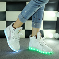 Fashion 8 Colors LED Luminous Shoes 2017 Women Flats USB Charging Colorful LED lights Shoes Trainers Hombre Mujer Size 35-44