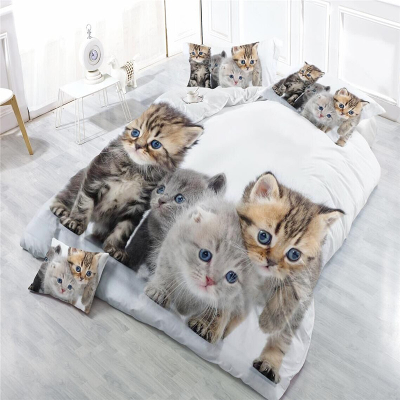 3D Cat Printed Kids bedding set single Duvet Cover Bed Sheet 3/4PCS Pillowcase King Bedding Sets Home Bedclothes Decor Animal