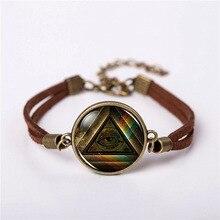 2018 Masonic free Mason Freemason Illuminati Bracelet Jewelry Fashion Cute Leather Bracelets chain Bangle friends Gift steampunk