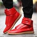 Mejor Formal Diseñador de Zapatos de Los Hombres de Alta Calidad de la Marca de Lujo 2017 Sólido de cuero Inferiores del Rojo Para Hombre Zapatos Casuales de Alta Superior X071205