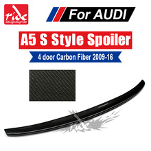 For Audi A5 A5Q Carbon Spoiler S Style Carbon Fiber rear spoiler Rear trunk Lid Boot Lip wing A5 Coupe 4-Doors car styling 09-16 kit thule audi a5 5 dr sportback 09 a5 3 dr coupe 07
