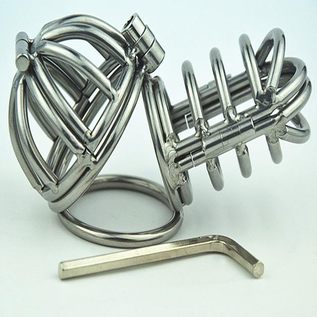 Novo Pequeno Duplo Caralho Anel Cinto de Castidade de Aço Inoxidável Dispositivo de Castidade Masculino Penis Anéis Sex Toys Para Homens Dos Produtos Do Sexo