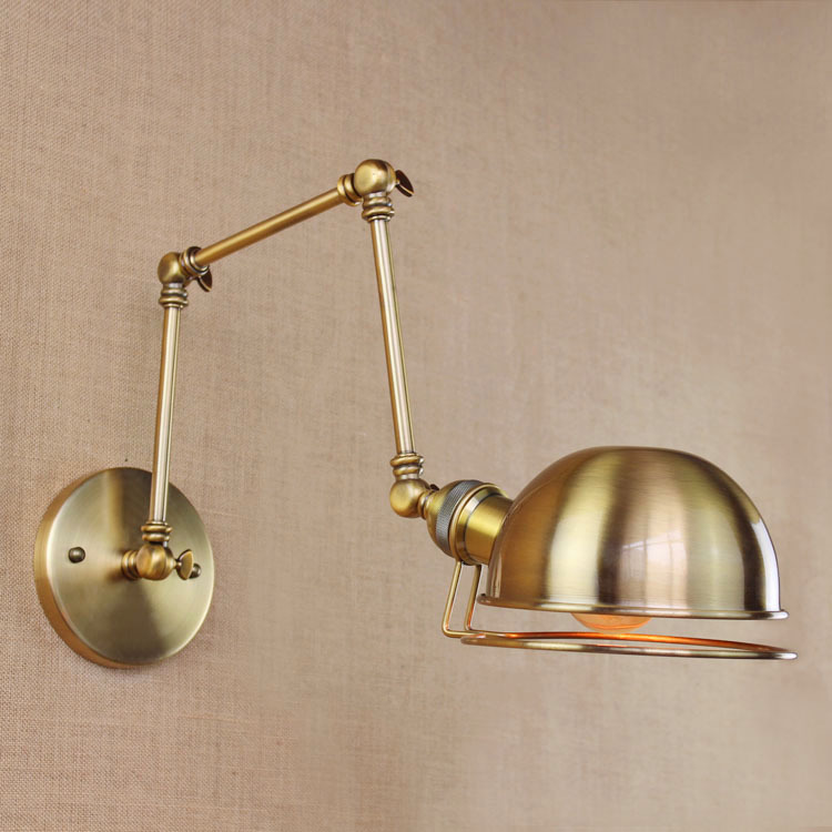 Industrial Retro Golden Wall Lamp Modern Gold  Long Arm Pub Light Bedroom Light Study Light  AC90-260V Free Shipping free shipping 220v high quality modern acrylic lights creative wall lamp fit to install the new listing study bedroom aisle