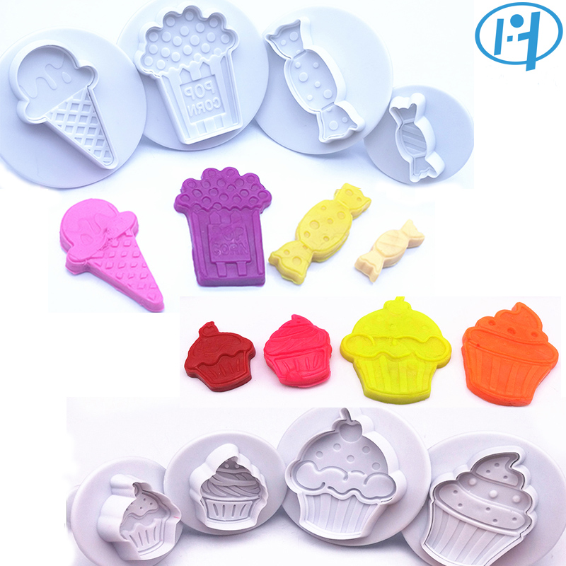 8pcs Cupcake Candy Icecream Plastic Plunger Cutter Cookie Embossing Cake Decorating Tool Fondant Mold Kitchen