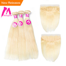 Maxglam Blonde 613 Bundles With Frontal Brazilian Remy Human Hair Weave Bundles with Frontal Straight Freeshipping(China)