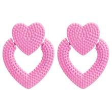 Heart Pink Earrings for women love summer earrings 2019 fashion jewellery statement earings wholesale jewelry(China)