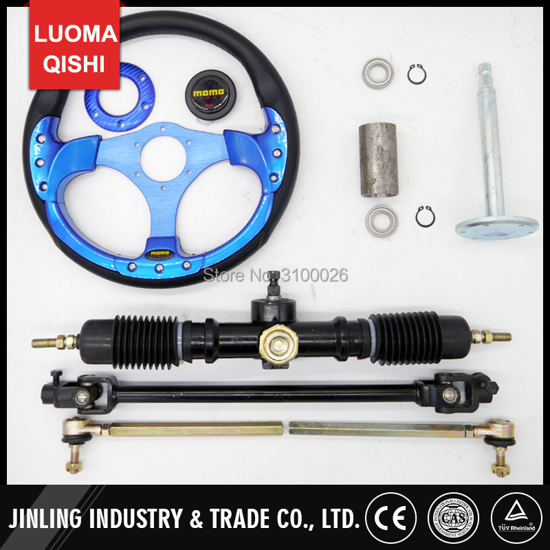 320mm Steering wheel 520mm Gear Pinion 490mm U Joints Tie Rod Assy Fit For DIY China Go Golf Kart Buggy Karting UTV Bike Parts 320mm steering wheel 630mm rack