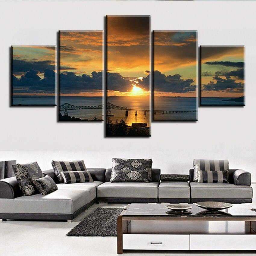 ①5 Unid set paisaje-HD-wallpaper-ciudad Río sin marco aceite ...