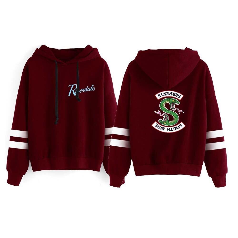 New Riverdale Hoodie Sweatshirts South Side Serpents Hoodie Women Long Sleeve Striped Pullover Tops Harajuku Hoodie Streetwear