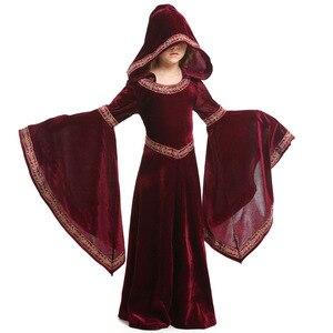 Image 5 - Umorden Bambini Bambino Ragazze Adolescenti Medievale Strega Pagan Strega Costume Gotico di Velluto Con Cappuccio del Vestito di Halloween Costumi di Carnevale