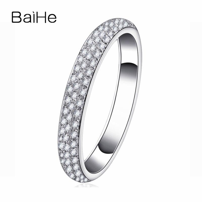 BAIHE Solide 14 K Or Blanc (AU585) 0.2CT Certified H/SI Round Cut Véritable Naturel Diamants De Mariage femmes À La Mode Bijoux Anneau