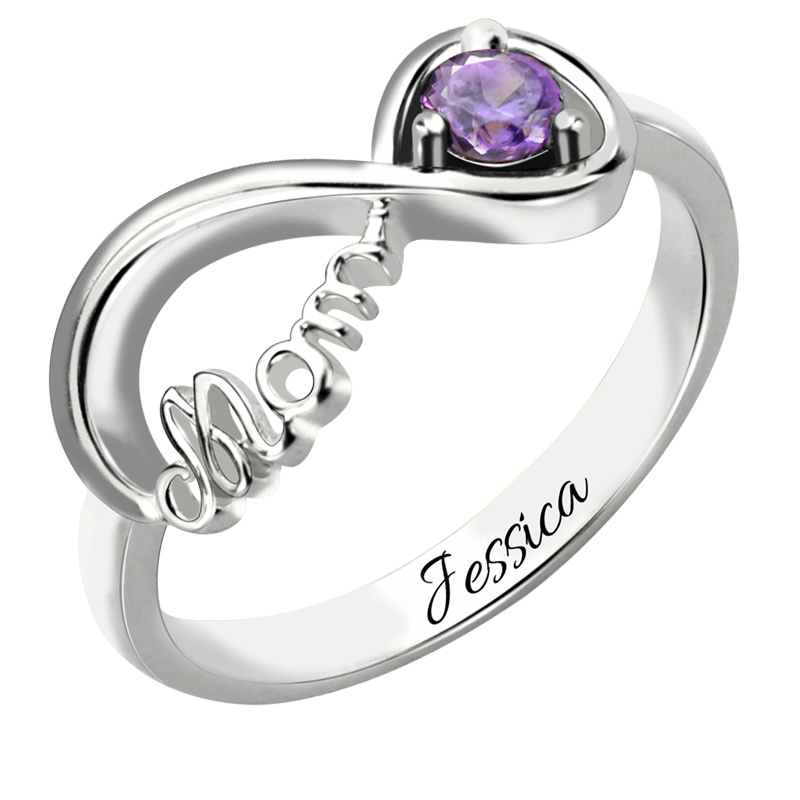 infinity mothers ring. infinity birthstone ring mother\u0027s engraved name in sterling silver symbol gift for mom-in rings from jewelry \u0026 accessories on mothers n