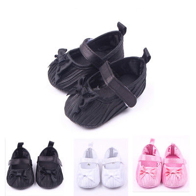 Cute Toddler Infant Baby Girl Bowknot Shoes Soft Crib Shoes Pink White Black First Walkers Newborn 0-18 Months