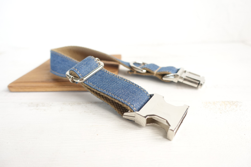 10pcs/lot MUTTCO wholesale self-design handsome dog collar THE JEAN handmade mazarine and brown 5 sizes dog collars UDC035