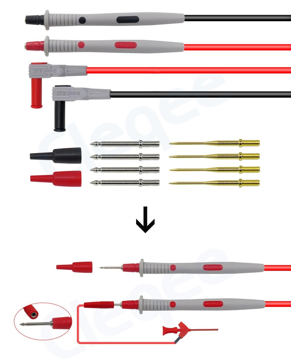 HTB1SULWXorrK1RkSne1q6ArVVXa9 Cleqee Multimeter probes replaceable needles test leads kits probes for digital multimeter cable feeler for multimeter wire tips