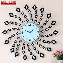 72X72CM Creative Diamond Iron Wall Clock Modern Design Art Wall Watch Large Living Room Clock Wall