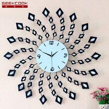 72X72CM Creative Diamond Iron Wall Clock Modern Design Art Wall Watch Large Living Room Clock Wall Bedroom Home Decor Mute Clock