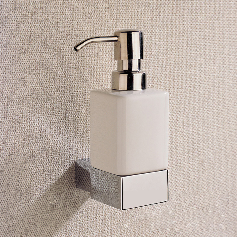 Chrome Liquid Soap Dispenser Holder Vintage Brass Wall Mounted Bathroom Accessories Ceramic Bath