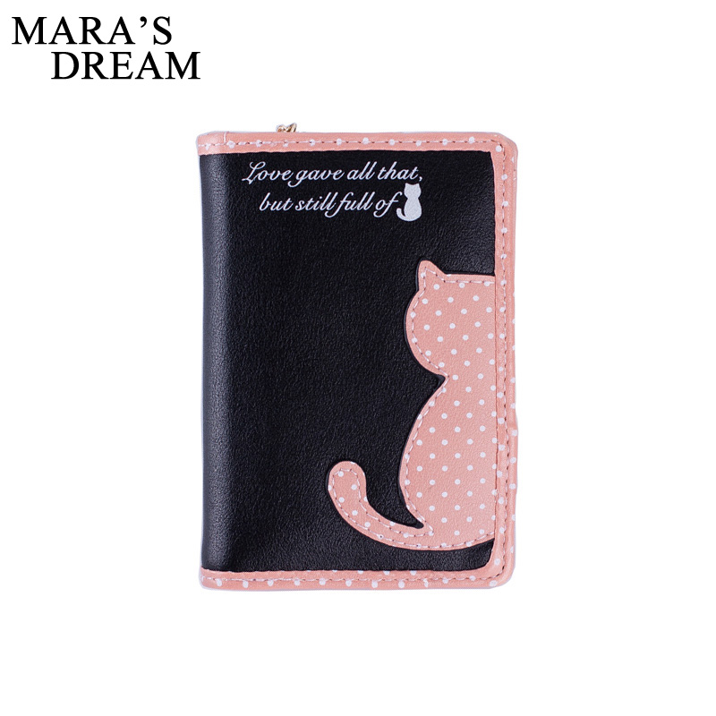 Mara's Dream Brand Lovely Cat Printed Wallet women Leather Small Change Clasp Purse Money Card Holder Carteras Girl wallet Purse