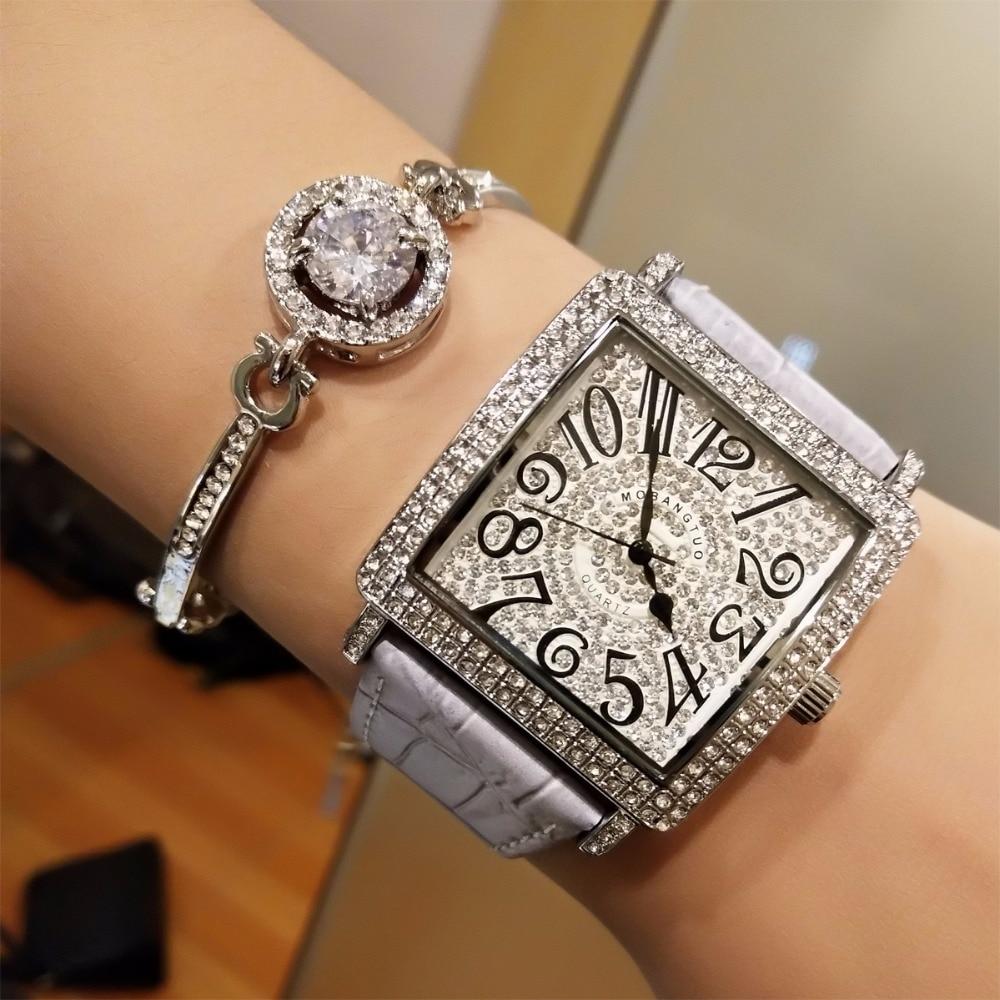 лучшая цена Women Watch Exquisite Top Luxury Diamond Quartz Ladies Watch Leather Wristwatch Attend the banquet watches saat relogio feminino