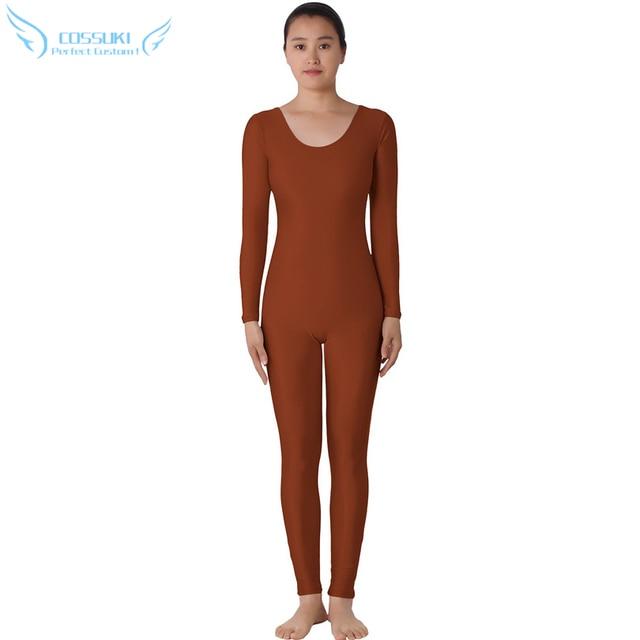 Dark Brown Lycra Headless Zentai Suit Spandex Full Body Skin Tight Jumpsuit  Unitard Dancewear Bodysuit Costumes For Women 98f04979f299