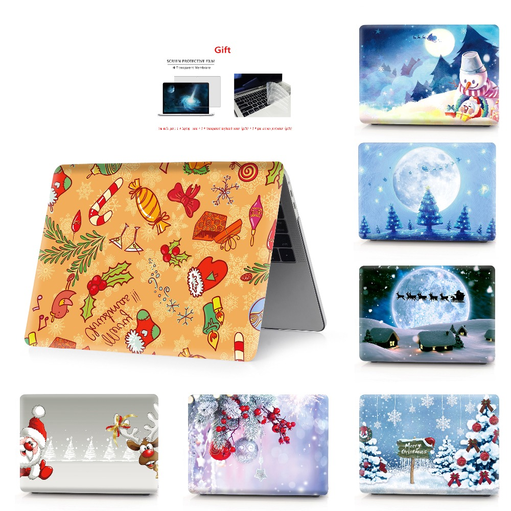 Christmas color printing notebook case for Macbook Air 11 13 Pro Retina 12 13 15 inch Colors Touch Bar New Pro 13 15  New Air 13-in Laptop Bags & Cases from Computer & Office