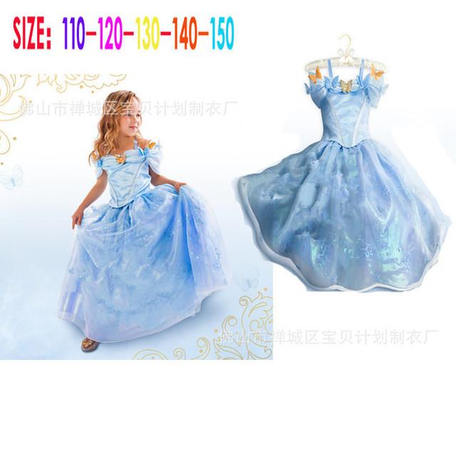 2015 Nuevo verano ropa de los niños del vestido de Cenicienta Cenicienta princesa vestido azul de la gasa de La mariposa