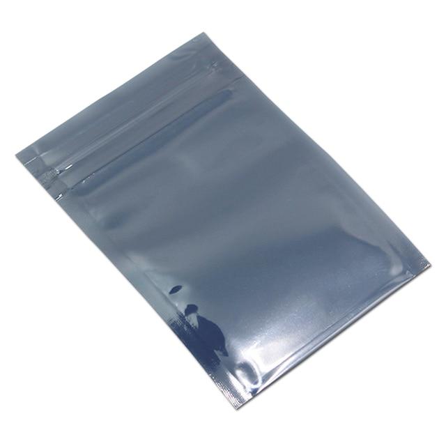 100 Saco De Armazenamento de Alumínio Antiestático pçs/lote Resselável Zip Lock Sacos Bolsa para Acessórios Eletrônicos Pacote Anti Estática ESD