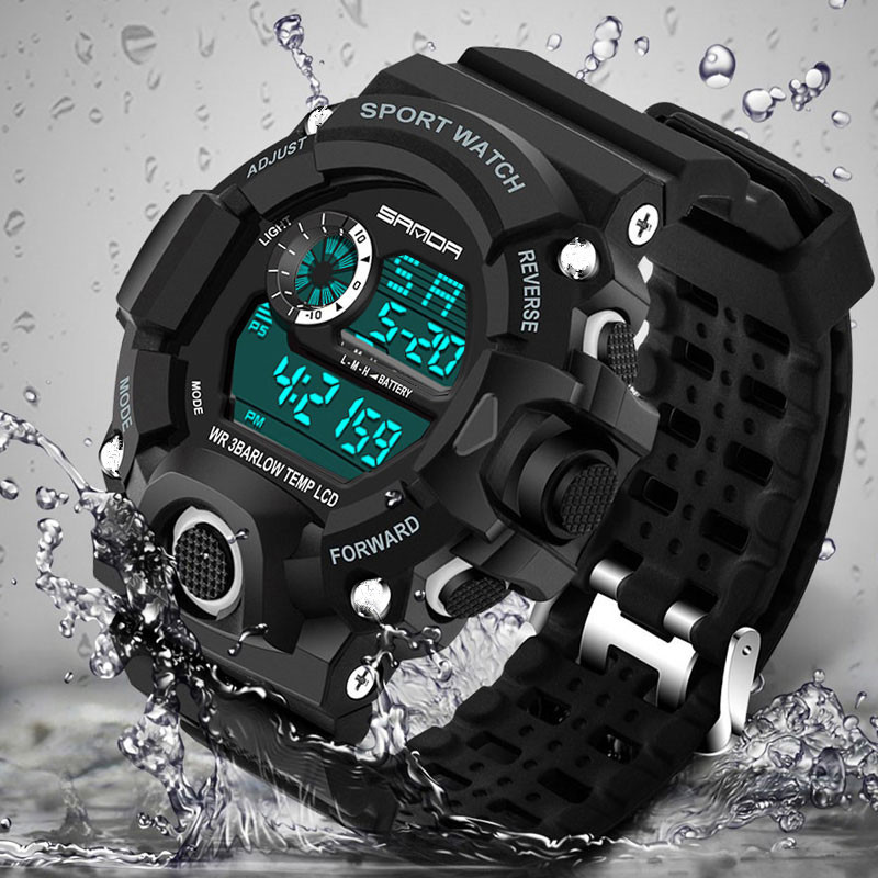 SANDA Merkhorloge Herenmode LED Digital Military Sport horloge Waterdicht Polshorloges Heren Luxe quartz digitaal horloge