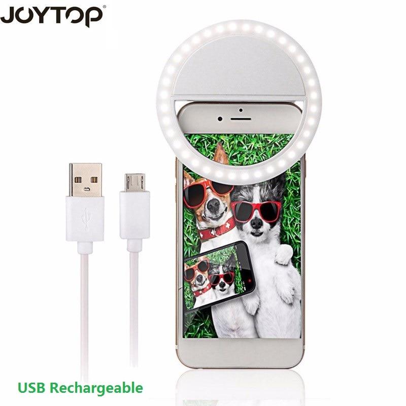 JOYTOP USB Rechargeable 36 Led Camera Enhancing Photography Selfie Ring Flash Light for mobile phone charging Selfie Light