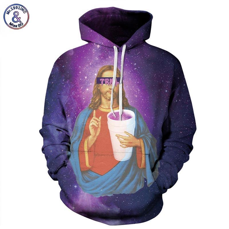 Mr 1991INC New Fashion Men Women 3d Sweatshirts With Hat Print Jesus Space Galaxy Hooded Hoodies