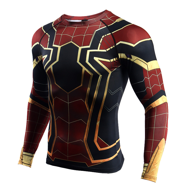 Raglan Sleeve Spiderman 3D Printed   T     shirts   Men Compression   Shirts   Long Sleeve Crossfit Tops Tees Gyms Fitness   T  -  shirt   Rashguard