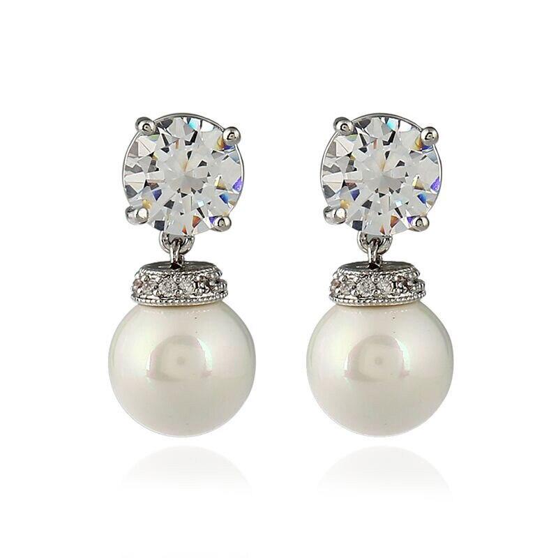 Sweet Style Cultivation Pearl Earrings Paved Austrian CZ Zircon Rhinestone Copper Stud Earrings For Women Statement