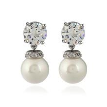 Sweet Style Cultivation Pearl Earrings Paved Austrian CZ Zircon Rhinestone Copper Stud Earrings For Women Statement Fine Jewelry