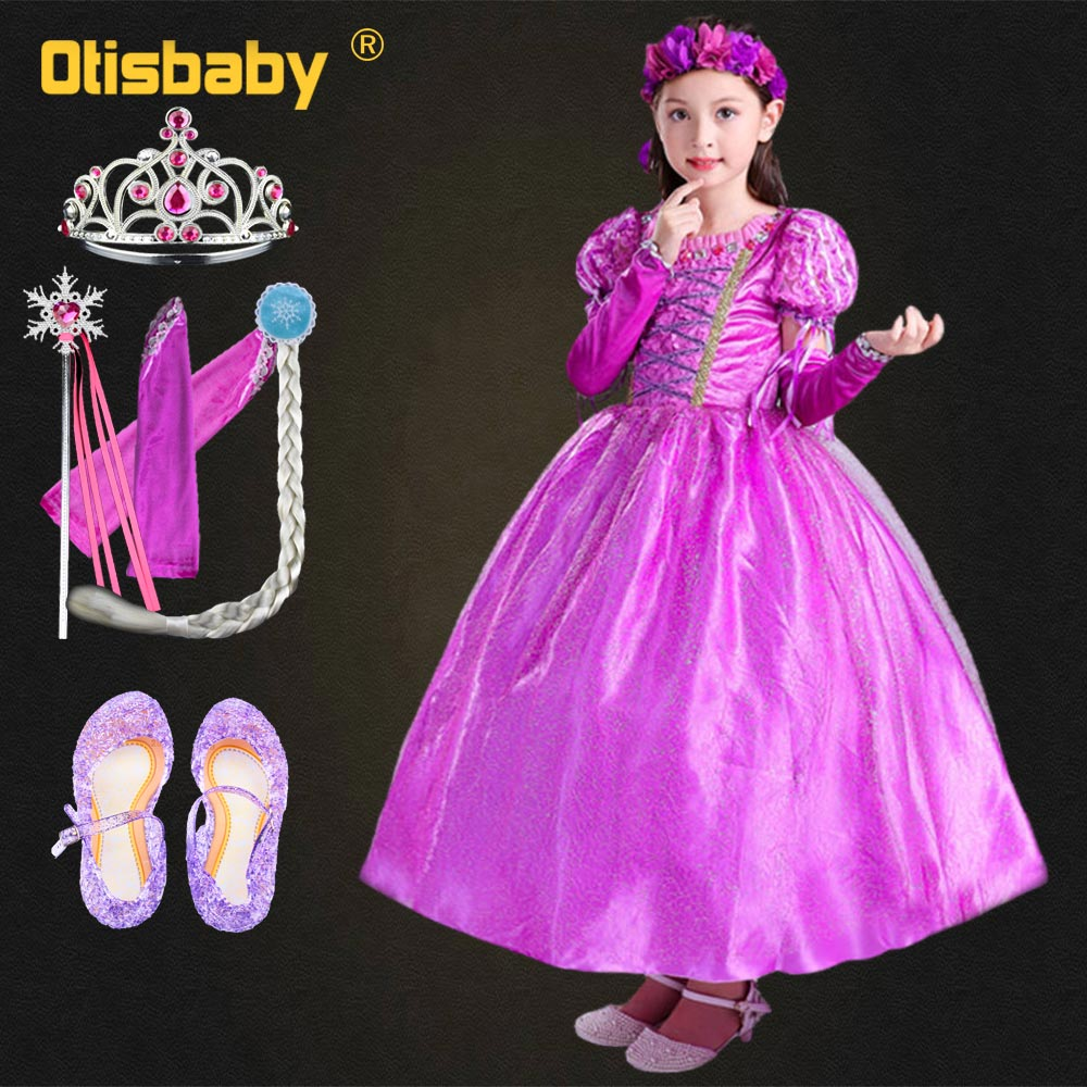 Girls Princess Sofia Rapunzel Dress Children Hair Kids Evening Dresses for Teenage Kinder Costume
